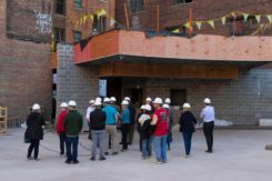 Hard hat tour during construction
