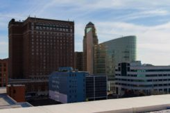 A view of downtown from our rooftop lounge