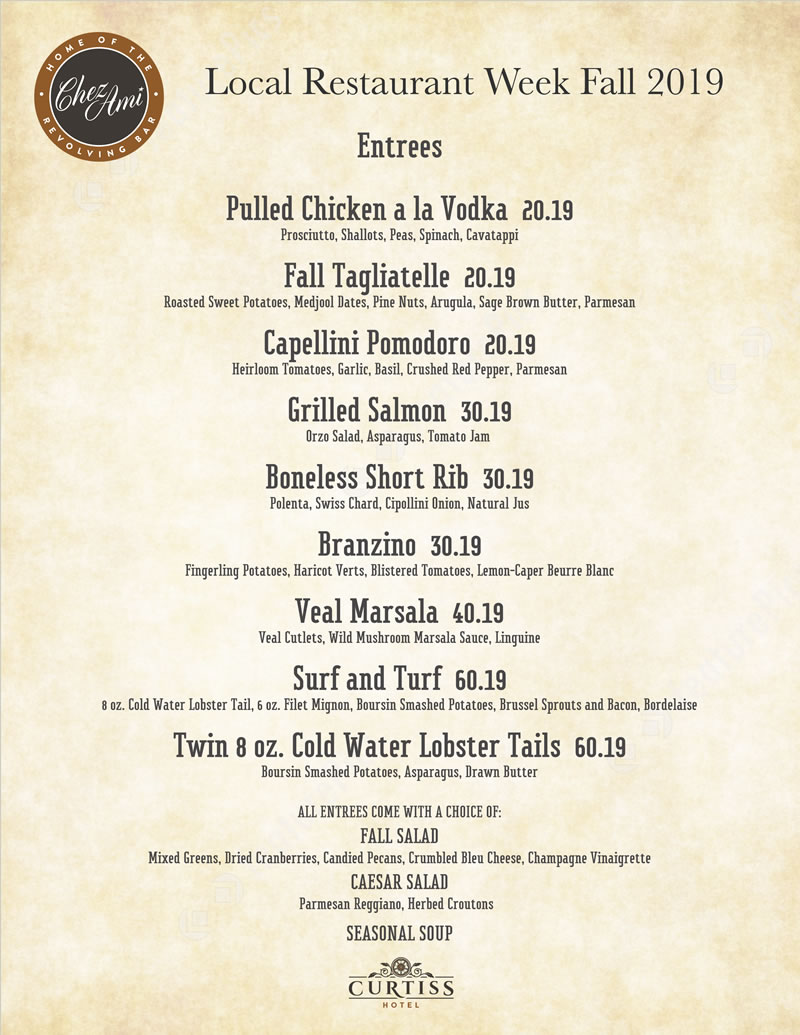 Fall 2019 Local Restaurant Week Menu